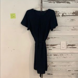 Navy dress w/beautiful detailing banana republic
